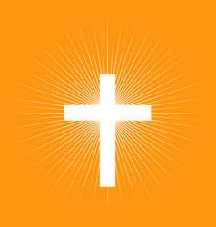 cross on light burst background vector image