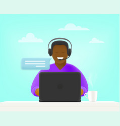 customer service concept young man on hotline 3d vector image