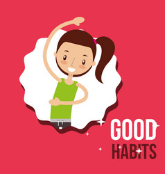Cute girl activity lifestyle good habits vector