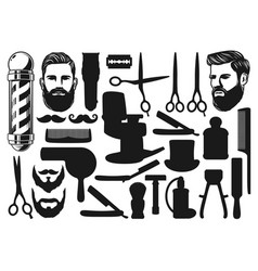 Cutting shaving trimming silhouettes barbershop vector