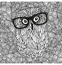 Doodle pattern with black and white hipster owl vector image