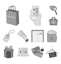 E-commerce purchase and sale monochrome icons in vector