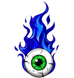 Eyeball on fire - a cartoon vector