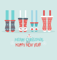 Family feet in christmas socks vector