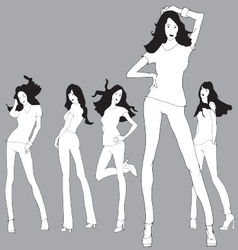 Fashion 5 models sketch vector