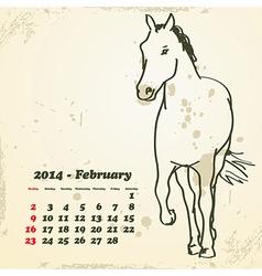 February 2014 hand drawn horse calendar vector image