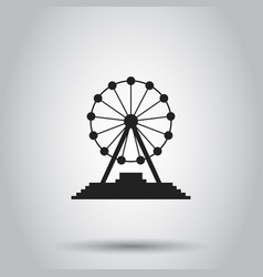 ferris wheel carousel in park icon on isolated vector image