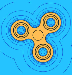 Fidget spinner sign sand color icon with vector