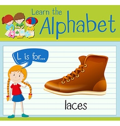 Flashcard letter L is for laces vector