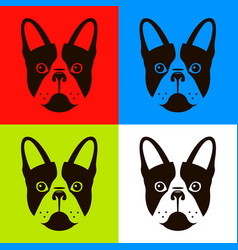 French bulldog in four different color schemes vector
