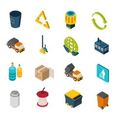 Garbage isometric icons vector