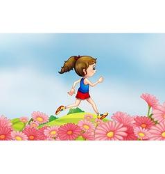 Girl jogging garden vector