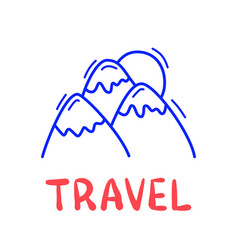 hand draw doodle mountain and sun travel icon vector image