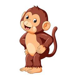 Happy monkey dancing and smile vector