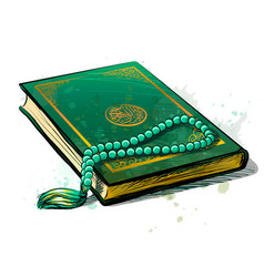 Holy book koran is green with a rosary vector