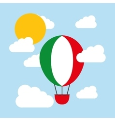 Hot air balloon and flag icon Italy culture vector