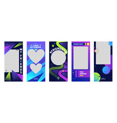 instagram story colorful template mobile app page vector image