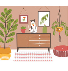 Interior of comfy room with table and cat sitting vector