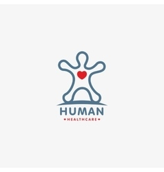 Isolated human silhouette logo with heart vector