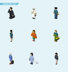 Isometric human set of officer investor girl and vector