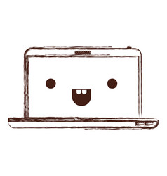 kawaii laptop computer in monochrome blurred vector image