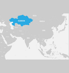 Kazakhstan blue marked in political map of vector