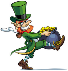 Leprechaun stealing pot of golden coins vector