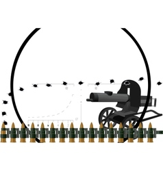 Machine gun and machine-gun belt vector
