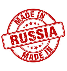 made in russia red grunge round stamp vector image