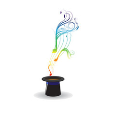 Magic hat and music notes vector image