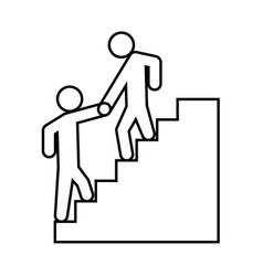 man helping climb other man black icon vector image