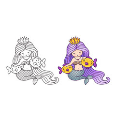 Mermaid with purple gradient hair stroking two vector
