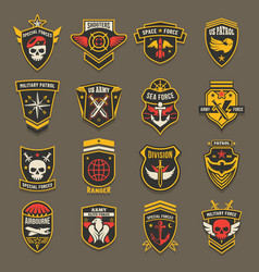 military army chevrons us patrol aviation forces vector image