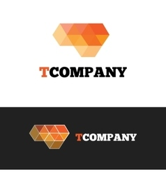 modern orange T letter logo Abstract cubes vector image
