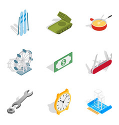 Money available icons set isometric style vector