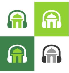 Muslim podcast logo icon design talk islam symbol vector