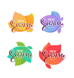 new season arrivals labels and badges for your vector image
