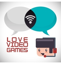 Online games character headset love bubbles vector