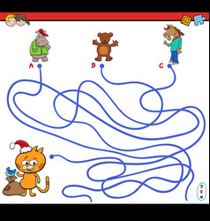 Path maze game with animal characters vector