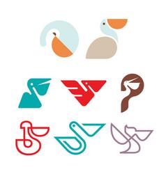 Pelican bird logo design vector
