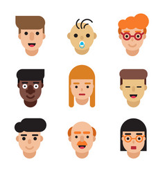 people avatars set modern flat character cartoon vector image