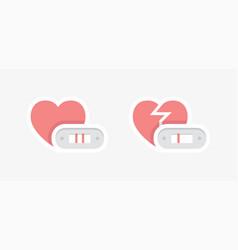 Positive and negative pregnancy test symbols vector