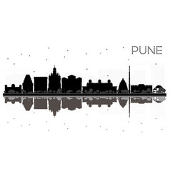 Pune skyline black and white silhouette with vector