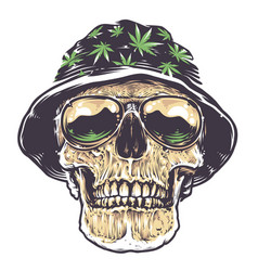 Rasta skull in hat and sunglasses vector