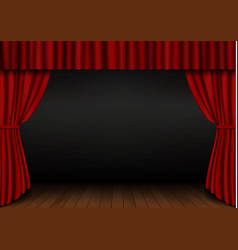 Red open curtain with wood floor in theater velve vector