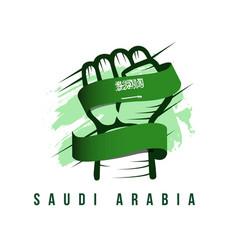 Saudi arabia hand and flag template design vector