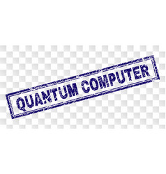 Scratched quantum computer rectangle stamp vector