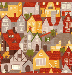 seamless pattern colorful buildings in flat vector image