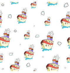 seamless pattern with image of a ship on world vector image