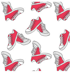 seamless pattern with red sneakers vector image